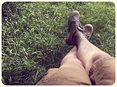 Man's feet in grass - SHIF000011