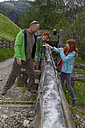 Italy, Alto Adige, happy family on hiking trail in the Campill valley - LB000904