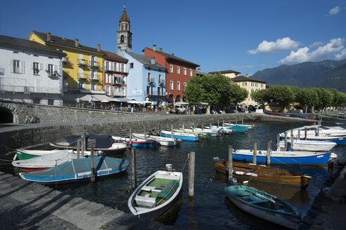 Switzerland, Ticino, Ascona, Harbour, Lago Maggiore, Church Santi Pietro e Paolo - WEF000199
