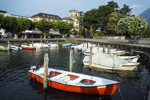 Switzerland, Ticino, Ascona, Lago Maggiore, Harbour with motor boats - WEF000200