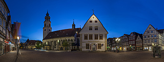 Germany, Lower Saxony, Celle, St Mary's Church and Old Townhall, Blue hour - PVC000073