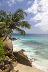 Seychelles, La Digue Island, View of the Anse Patate beach - KRPF000738