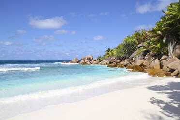 Seychelles, View of the Anse Cocos beach at La Digue Island - KRPF000746