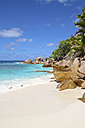 Seychelles, View of the Anse Cocos beach at La Digue Island - KRP000747