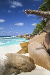 Seychelles, View of the Anse Cocos beach at La Digue Island - KRPF000748