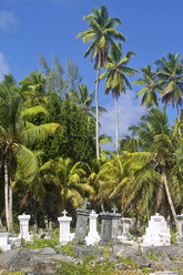 Seychelles, View of the cemetery L'Union Estate at La Digue Island - KRPF000755