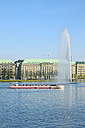 Germany, Hamburg, Inner Alster and Alster fountain, Excursion boat - KRP000994
