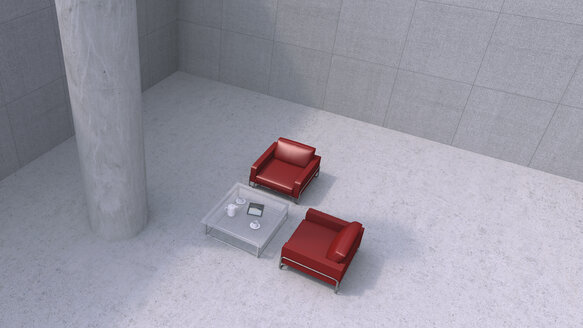 Two red chairs and a couch table in modern business building, 3D Rendering - UW000153