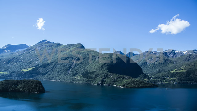 Norway, Alesund, landscape with fjord - NGF000211