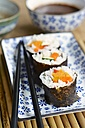 Vegetarian sushi with carrots, zucchini, sweet potato and bell pepper - HAWF000435