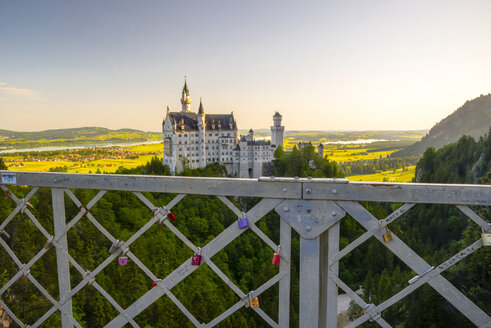 Germany, Bavaria, Swabia, Allgaeu, East Allgaeu, Schwangau, Hohenschangau, Neuschwanstein Castle, Love locks on a fence - WG000414