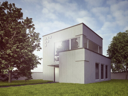 View to modern detached one-family house, 3D Rendering - UWF000155