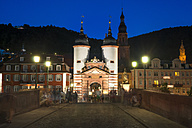 Germany, Baden-Wuerttemberg, Heidelberg, Old town, Old bridge with bridge gate in the evening - PUF000013