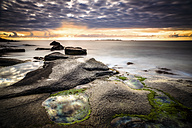 Scandinavia, Norway, Lofoten, Vestvagoy, Sundown at the coastline of Utakleiv - PU000020
