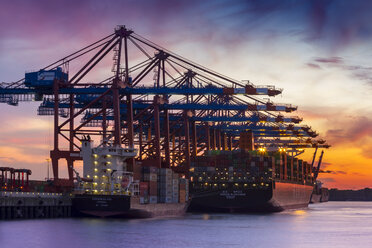 Germany, Hamburg, Port of Hamburg, Container Terminal, container cranes and container ships at sunset - NK000170