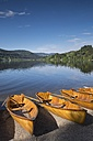 Germany, Baden-Wuerttemberg, Titisee-Neustadt, rowing boats on shore of Titisee - ELF001277
