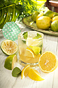 Glass of home made lemonade splash with slices of lemon - CSTF000366