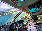 Caribbean, St. Lucia, helicopter approach airport - AM002669