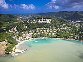 Caribbean, St. Lucia, Choc Bay, aerial photo of Calabash Cove Resort - AMF002665