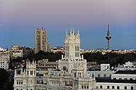 Spain, Madrid, city center, Palacio de Comunicaciones and Torre Espana television tower - MIZ000629