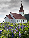 Iceland, South of Iceland, Vik, Church, Reynisdrangar in the background - MKFF000107