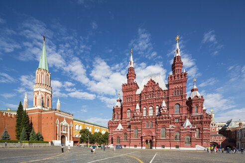 Russia, Central Russia, Moscow, Red Square, Kremlin wall, State Historical Museum, Iberian Gate, Nikolskaya Tower left - FOF006749