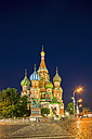Russia, Central Russia, Moscow, Red Square, Saint Basil's Cathedral and Monument to Minin and Pozharsky at night - FOF006829