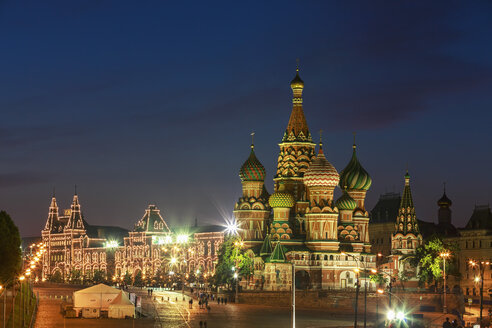 Russia, Central Russia, Moscow, Red Square, Saint Basil's Cathedral and GUM department store at night - FOF006834