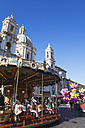 Italy, Lazio, Rome, Piazza Navona, Sant Agnese in Agone, Christmas market, Carousel - GWF003143
