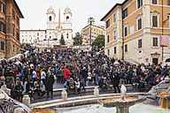 Italy, Lazio, Rome, People sitting on Spanish Steps - GW003149