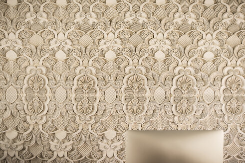 Morocco, Fes, ornamental wall in a hotel - KM001332
