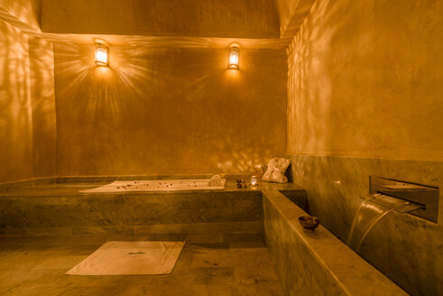 Morocco, Fes, lighted sauna of a hotel - KM001375