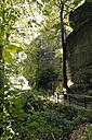 Germany, Saxony, Elbe Sandstone Mountains, tourists on the to Bastei Bridge - MS004094