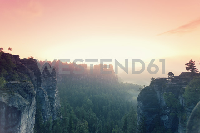 Germany, Saxony, view to Gansfels at Elbe Sandstone Mountains in morning mist - MSF004104