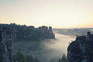 Germany, Saxony, view to Gansfels at Elbe Sandstone Mountains in the morning mist - MSF004116