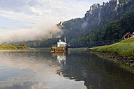 Germany, Saxony, Rathen, ferry driving on Elbe river - MSF004133