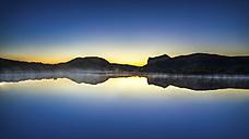Norway, Lofoten, Vestvagoey, view to Leknes by twilight - PUF000034