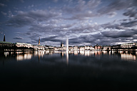 Germany, Hamburg, Inner Alster and Alster fountain at night - KRPF001010