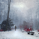 Man walking in snow covered forest, digital alteration - DWI000166