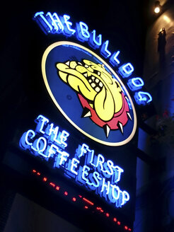 Netherlands, Amsterdam, Illuminated advertising for coffeshop - HOH000963