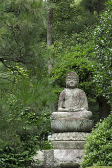Japan, Kyoto, Buddha statue in the garden of Ryoan-ji temple - HLF000727