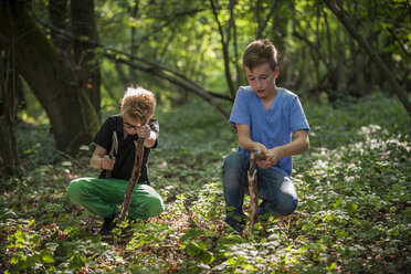 Two boys chopping branches with axes in a forest - PAF000876