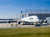 Germany, Hesse, Frankfurt, Lufthansa Airbus A380 at maintenance hangar - AM002744