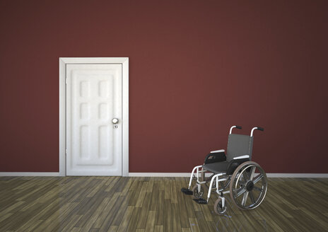 Wheelchair with closed door, 3d rendering - ALF000195