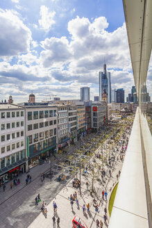 Germany, Hesse, Frankfurt, view to pedestrian area at city center from above - WDF002633