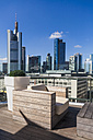 Germany, Hesse, Frankfurt, skylounge restaurant and financial buildings - WD002620