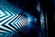 Futuristic empty room in blue, 3D Rendering - SPCF000022