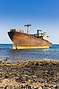 Spain, Canary Islands, Lanzarote, Arrecife, Punta Chica, Ship wreck Telamon - AMF002769