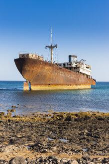 Spain, Canary Islands, Lanzarote, Arrecife, Punta Chica, Ship wreck Telamon - AMF002769