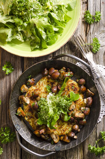 Fresh potato rosti in a pan with mushrooms and salad on plate - ODF000804